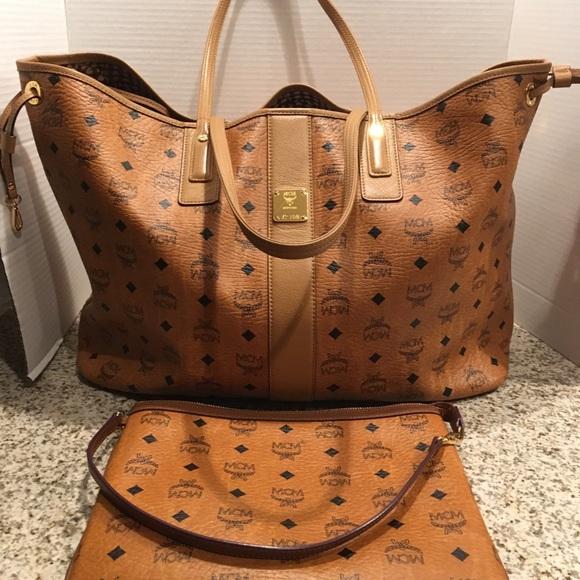 ebaf4ed37543 MCM Large Liz Shopper Cognac Tote Handbag. M 5a6ea286daa8f653e21adcc3